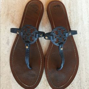 Tory Burch Navy Leather Mini Miller Sandals